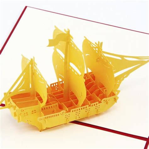 Origami Pop Up Greeting Cards - the creative quot sailing boat quot handmade kirigami origami 3d