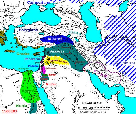 middle east map bc 1100 1000 bc