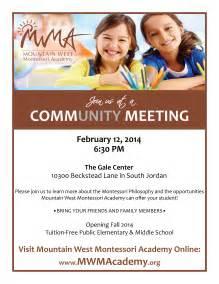 community meeting mountain west montessori academy
