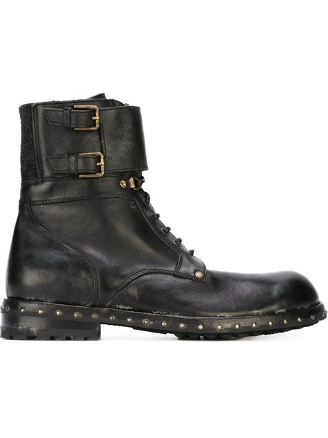 dolce and gabbana boots mens lyst dolce gabbana ankle utility boots in black