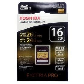 Toshiba Sd Card Exceria Pro Uhs Ii R260mb S W240mb S 16gb toshiba exceria pro sdhc uhs ii 260mb s 16gb sd