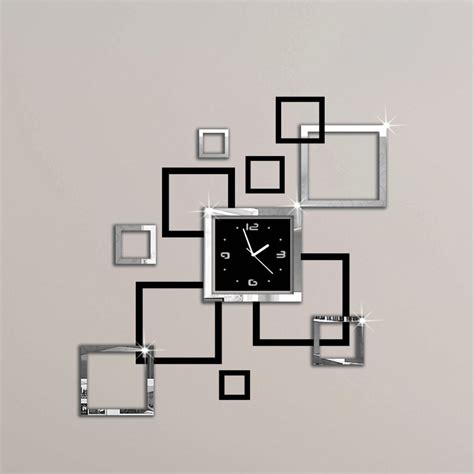 Wall Clock Sticker aliexpress com acquista album argento amp nero 3d diy