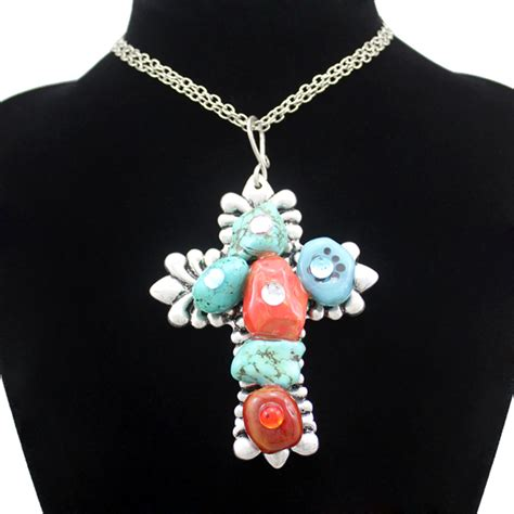Kalung Fk 16 turquoise cross necklaces promotion shop for promotional turquoise cross necklaces on aliexpress