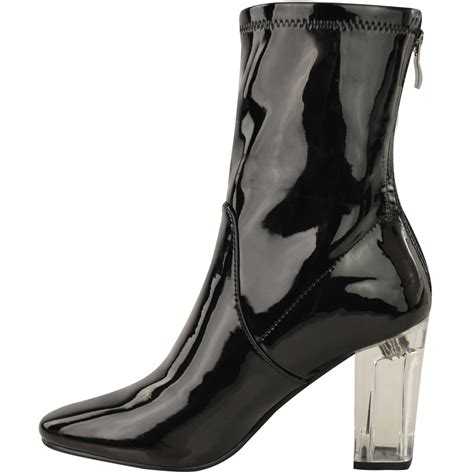 clear boots new womens ankle boots clear perspex block high