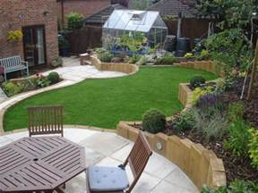 terraced sloping garden lush garden design
