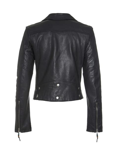 black moto jacket blk dnm long sleeve cropped leather moto jacket in black