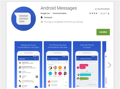 message app for android renames messenger to android messages for rcs