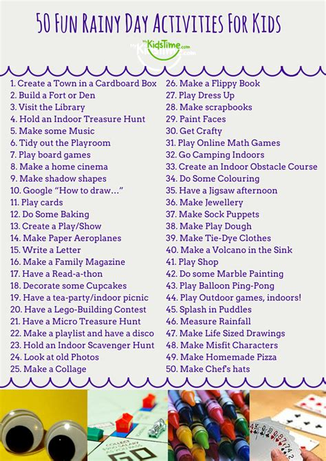 day activities for 50 rainy day activities for checklist