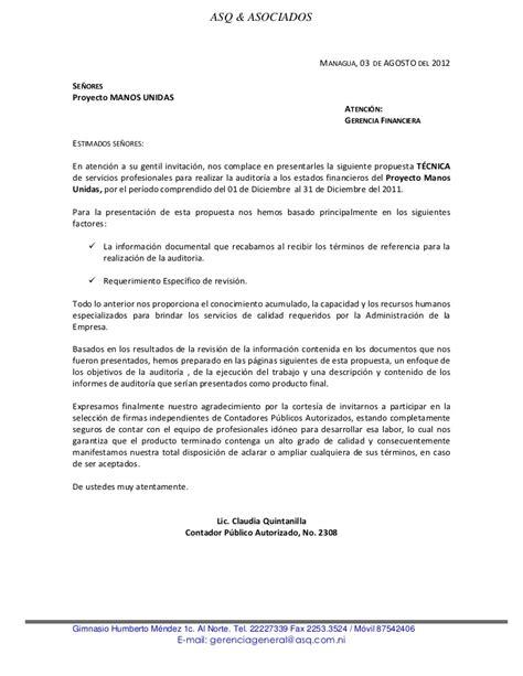 carta de presentacion para propuesta economica oferta tecnica economica