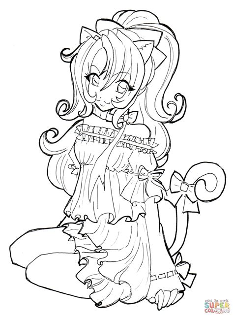 Anime Girl Neko Coloring Pages Printable Anime Neko Coloring Pages Printable