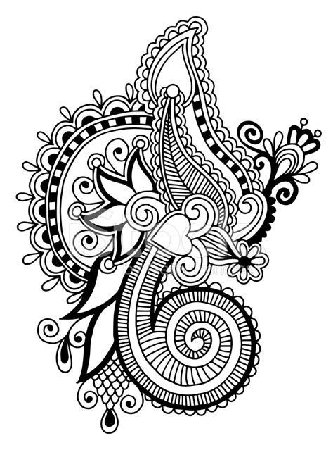 black line art ornate flower design ukrainian ethnic