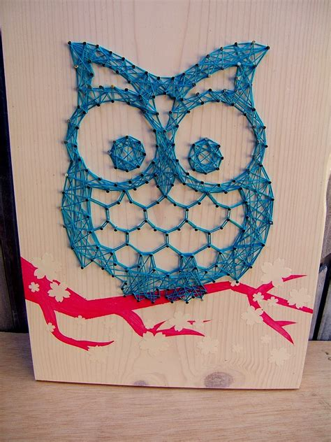 string art pattern owl i added a few sakura flowers couldn t resist