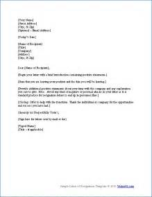 I Want Resignation Letter Format by Resign Letter Sle One Month Notice