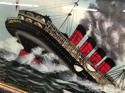 sinking of the lusitania 2 vintage paintings by frank ross the sinking of the