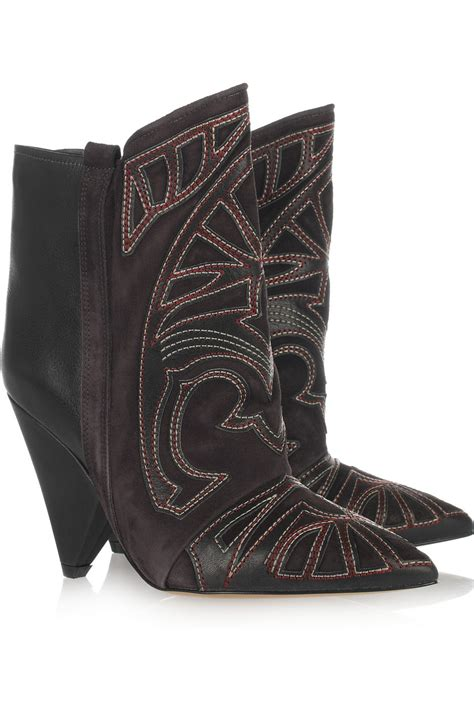 marant berry embroidered leather and suede boots in