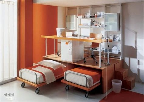 Measured Small Space Room Design With Double Movable Bed Bedroom Design For Small Space