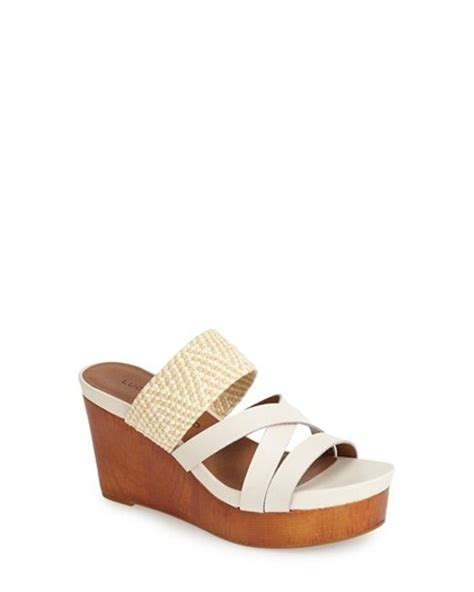 how to stretch leather sandals lucky brand nyloh wedge sandal in beige nigori stretch