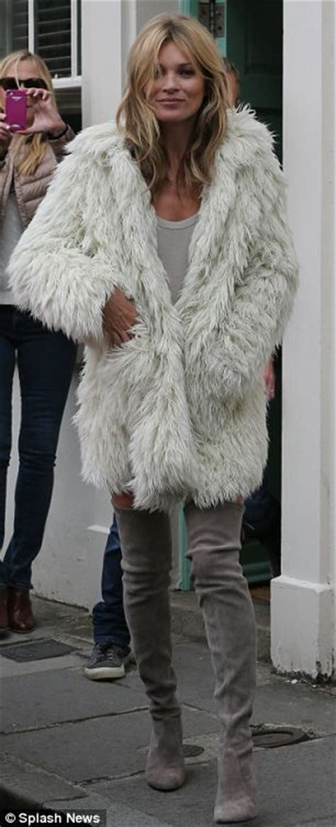 Diddy Makes Fashion Faux Pas With Fur Jacket by Kate Moss Really Is All Fur Coat And Literally No Knickers