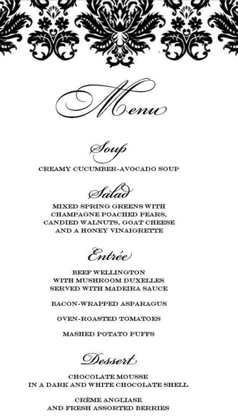 formal menu template formal dinner menu template sletemplatess