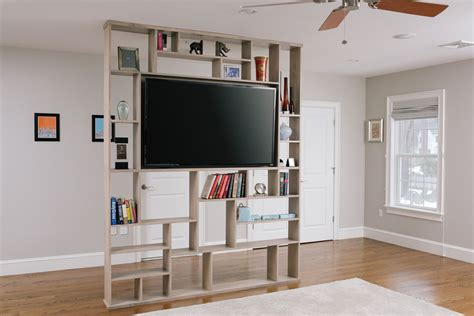 tv stand in middle of room hand crafted lexington room divider bookshelf tv stand