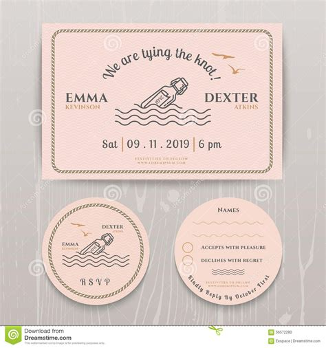card template sets nautical message in the bottle wedding invitation and rsvp