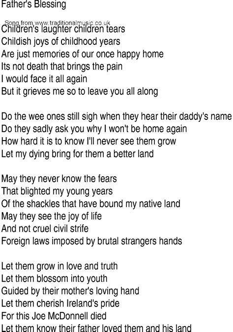 Wedding Blessing Lyrics by Song And Ballad Lyrics For Fathers Blessing