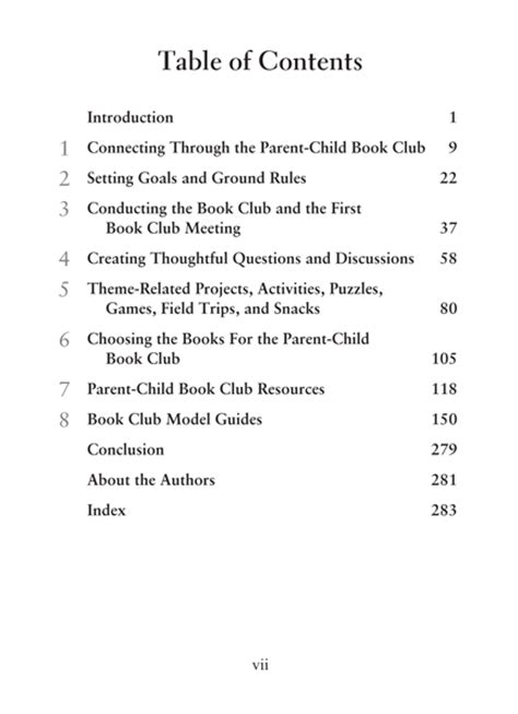 Book Table Of Contents by Book Guides Parent Child Book Club
