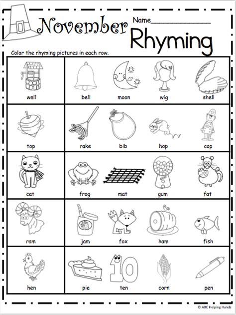 printable preschool rhyming worksheets free kindergarten rhyming worksheets for november