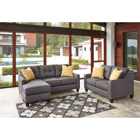 aldie nuvella gray sofa chaise benchcraft aldie nuvella stationary living room group