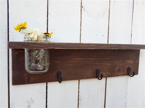 rustic wood shelf distressed shabby chic brown cottage
