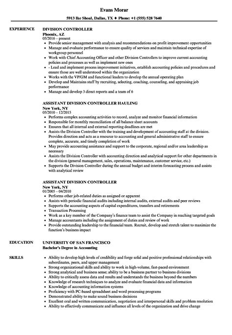 Division Controller Sle Resume by Division Controller Resume Sles Velvet