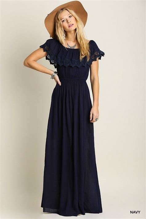 Dress Wanita Maxi Flare Combi details about fit and flare maxi dress with ruffled detail navy blue maxi dress floral crochet