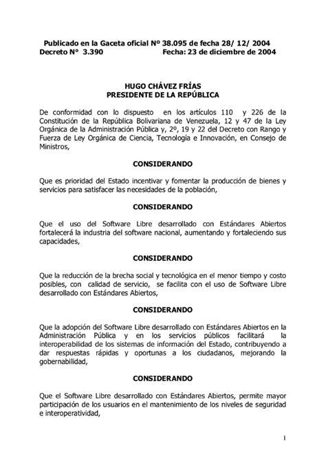 Canaimero: Decreto Presidencial 3.390, Gaceta Oficial No