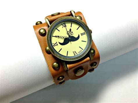 Handmade Leather Watches - handmade vintage moustache mustache leather band