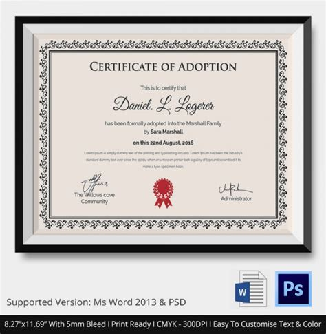 blank adoption certificate template blank adoption certificate template best free home