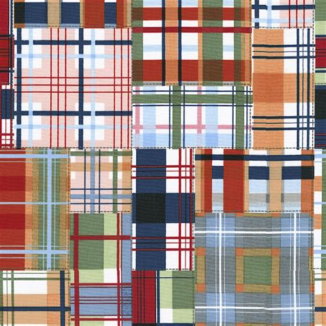 Plaid Patchwork Fabric - patchwork plaid fabric by the yard navy fabric