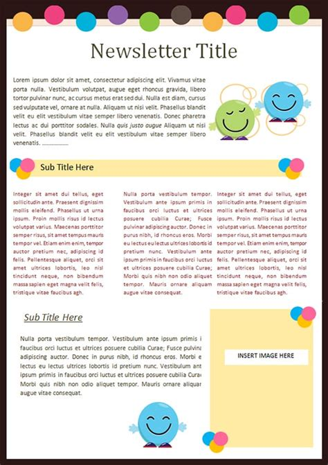 Kindergarten Newsletter Templates Free Formats Excel Word Excel Newsletter Template