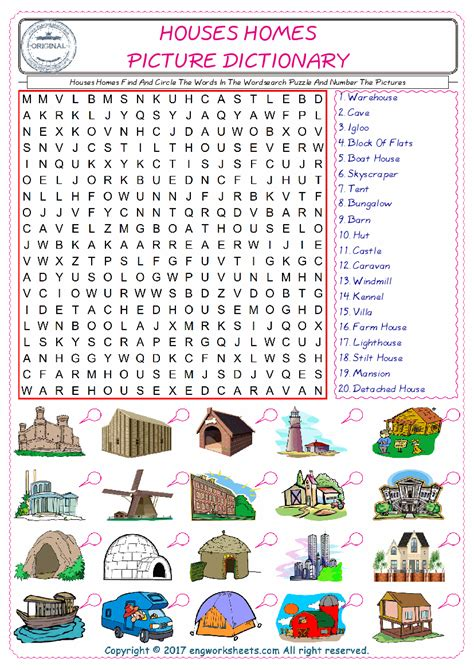 houses homes find and circle the words in the wordsearch