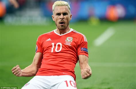aaron ramsey bleaches hair for wales euro 2016 caign russia 0 3 wales aaron ramsey neil taylor and gareth