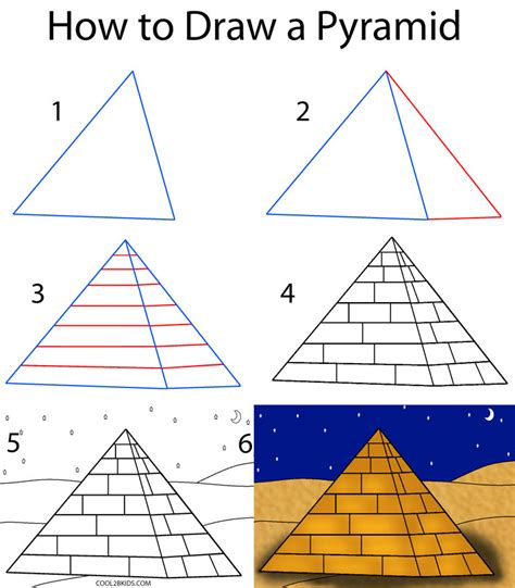 Pyramid Drawing how to draw a pyramid step by step pictures cool2bkids