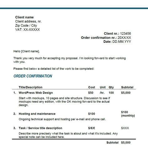 order confirmation letter template freelancers