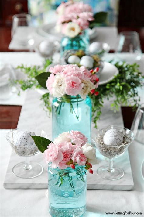 wedding table decoration ideas with jars the easiest way to tint jars blue setting for four
