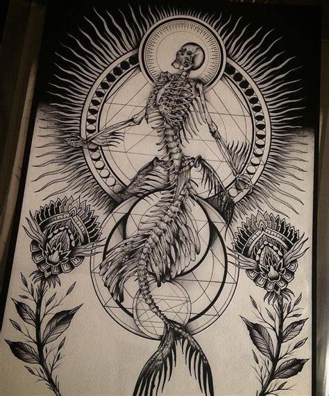 mermaid skeleton tattoo digging this rad mermaid skeleton by