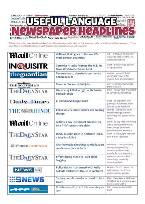 breaking news english english news readings level 5 newspaper headlines useful language interactive worksheet