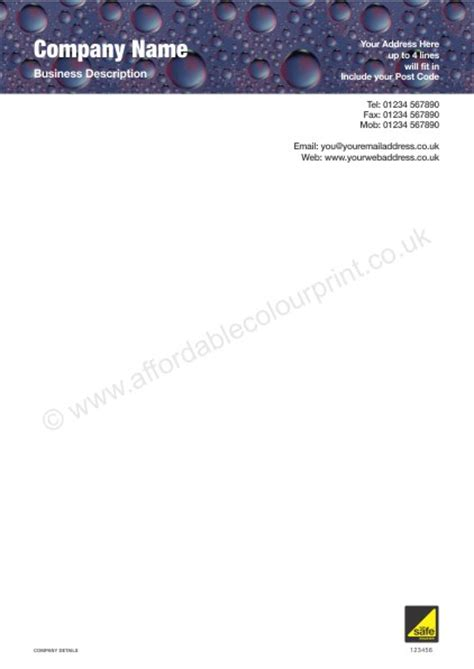 business letterhead prices a4 letterhead for gas safe registered plumbers and heating