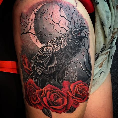 crow and roses tattoo 25 designs ideas design trends premium