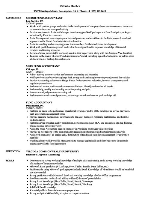 Fund Controller Sle Resume by Fund Accountant Sle Resume Free Printable