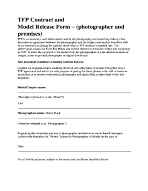 Tfp Contract Template Photography Print Release Form Templates Fillable Printable Sles For Pdf Word Pdffiller