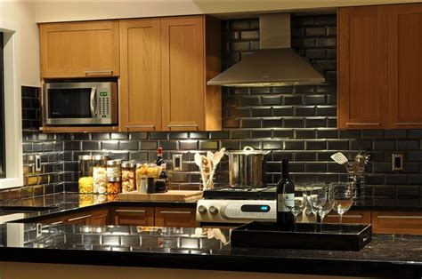 black glass backsplash kitchen beveled tile beveled subway tile westside tile and stone