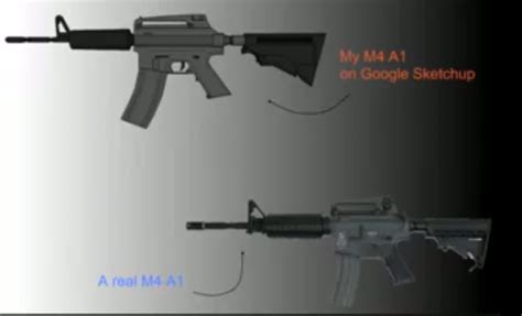 google sketchup gun tutorial how to draw a machine gun model m4 a1 model using google